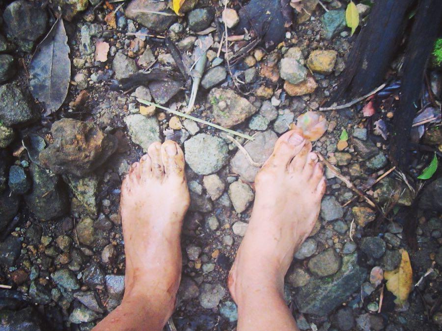 Barefoot hike